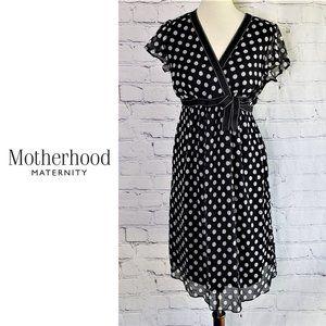 MOTHERHOOD MATERNITY Black & White Polka Dot Dress